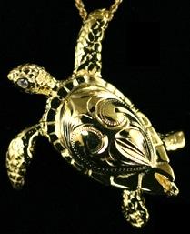 Hawaiian jewelry gold overlay sea turtle theme pendant gift gold overlay sea turtle pendant mozeypictures Images