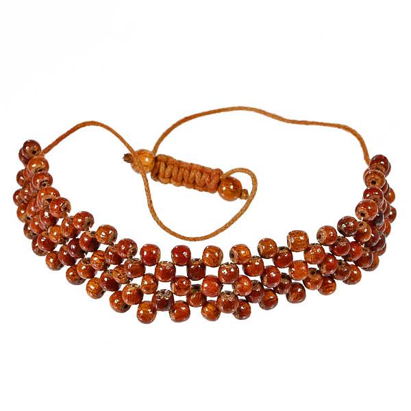 Hawaiian Koa Wood Koa Wood Woven Bead Adjustable Bracelet