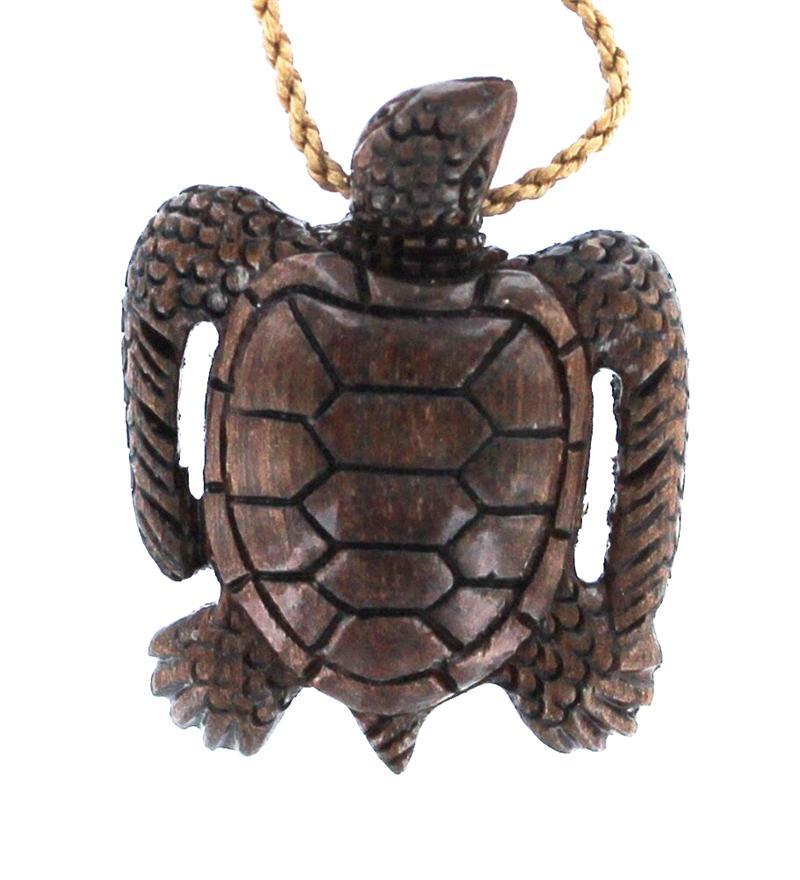 Hawaiian Koa Wood Koa Wood Necklace Sea Turtle Verticle